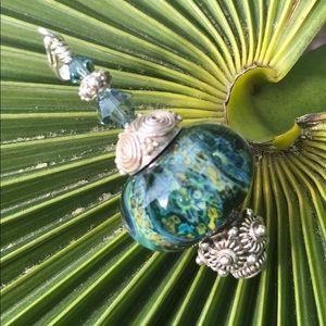 Jewelry - Sterling silver boro pendant caviar bead
